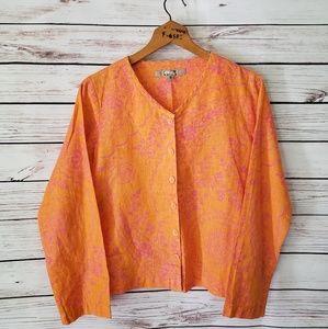 FLAX Linen Orange and Pink Floral Top Blazer